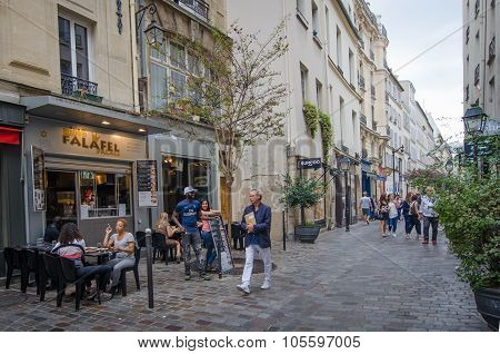 Street scene in historic Marais district of Paris