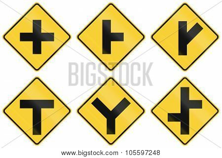 Collection Of Intersection Warning Signs Used In The Usa