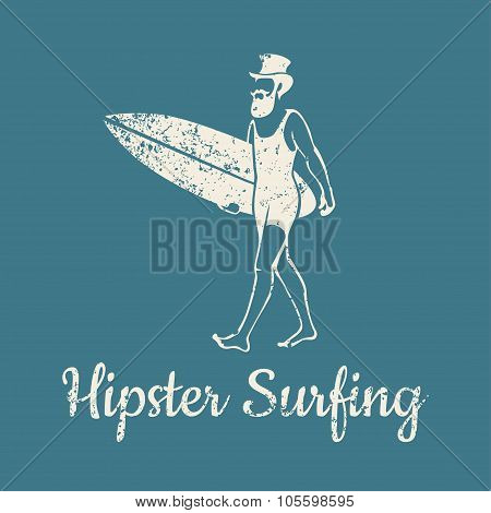 Hipster Surfing Logo