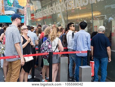 NEW YORK,USA - AUGUST 14,2015 : People at The TKTS booth on Times Square  buying tickets to Broadway shows