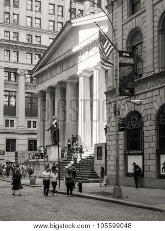 NEW YORK,USA - AUGUST 13,2015 : The Federal Hall on Wall Street at the Financial District in New York City