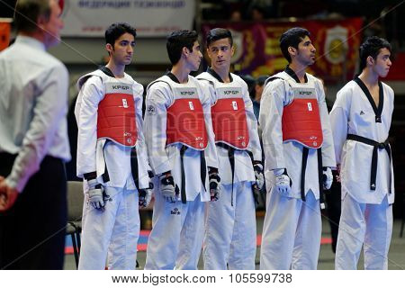 ST. PETERSBURG, RUSSIA - OCTOBER 17, 2015: Junior team Iran before the match against Russia during the martial arts festival Baltic Sea Cup in Sibur Arena. Iran won the match