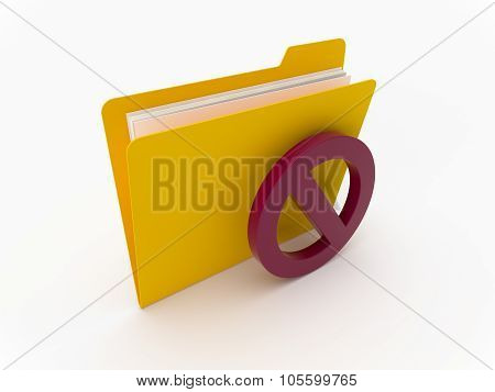 Yellow Folder With Access Denied