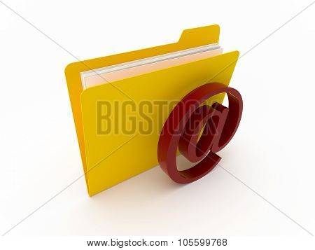Yellow Folder With Mail Symbol