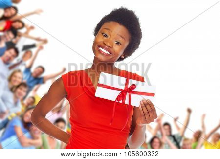 Young african-american woman with envelope over happy people group background.