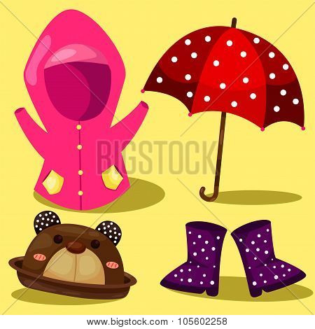 Illustration of raincoat set