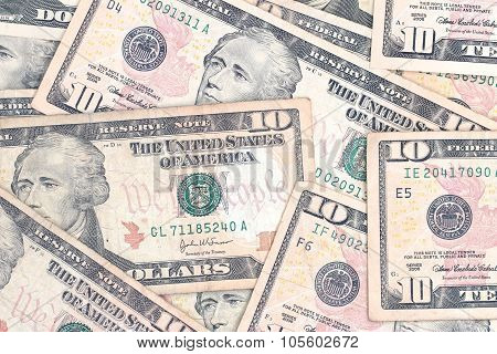 A Background Of Crisp Ten Dollar Bills