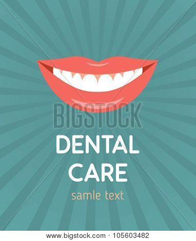 Beautiful smiling mouth with healthy teeth. Design concept