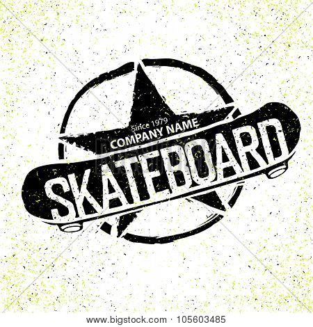 Vintage Skateboard Logotype. With star in circle sign. Can be used to print on T-shirts