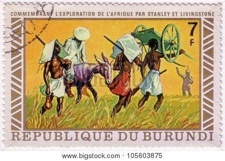 Burundi - Circa 1973: A Stamp Printed In Burundi Shows Image Of The Henry Morton Stanley Meets David
