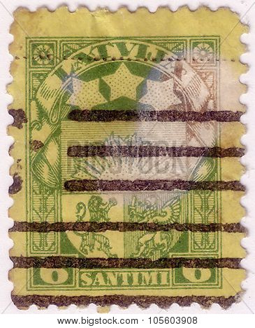 Latvia - Circa 1923: Stamp Printed By Latvia, Shows Arms And Stars For Vidzeme, Kurzeme And Latgale,