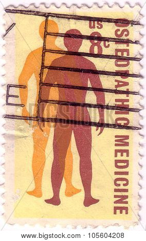 Usa - Circa 1972 : A Stamp Printed In The Usa Shows Osteopathic Medicine, Circa 1972