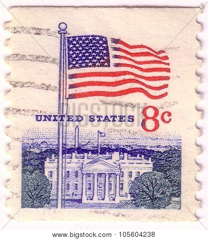 United States - Circa 1968: A Postage Stamp Printed In The United States, Features Waving Us Flag, C