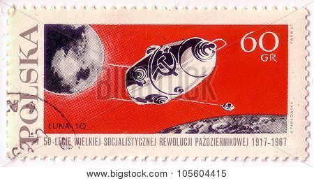 Poland - Circa 1967: A Stamp Printed In Poland Shows Flight Of Soviet Automatic Spaceship