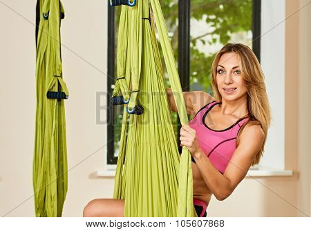 portrait with Antigravity yoga hammock