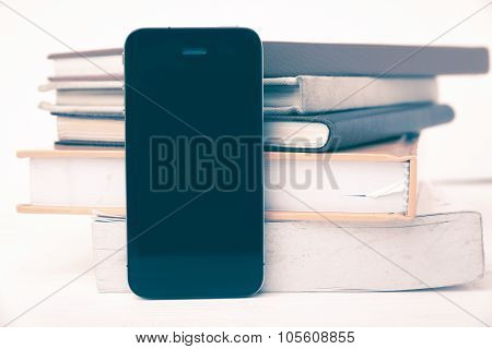 Cellphone With Stack Of Book Vintage Style
