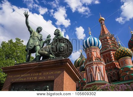 Monument To Minin And Pozharsky On Red Square In Moscow