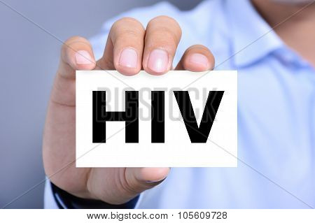 Hiv Letters On The Card Shown By A Man