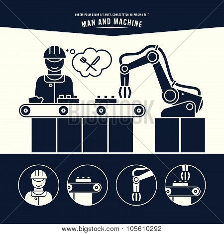 Production Line. Man And Machine