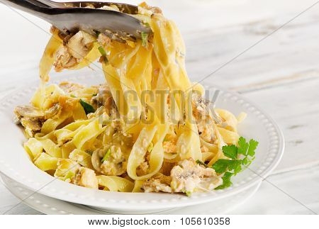 White Plate Of Italian Traditional Pasta.