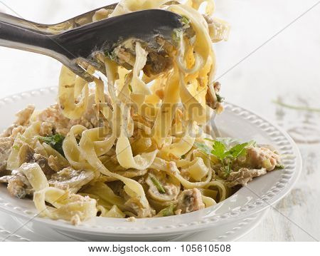 White Plate Of Italian Healthy Pasta.
