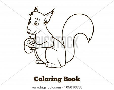Forest squirrel cartoon coloring book vector