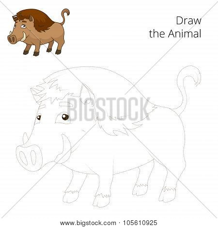 Draw the forest animal boar cartoon vector