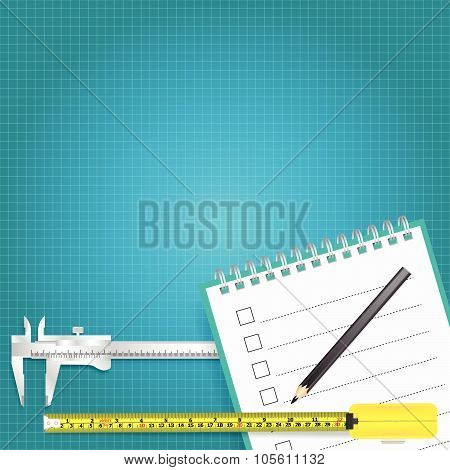 Measuring Tools And Measurement Tape Vector Background