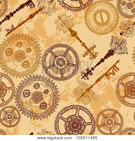Vintage seamless pattern with gears of clockwork and antique keys on aged paper background. Retro ha