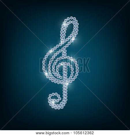 Treble clef with concept diamond