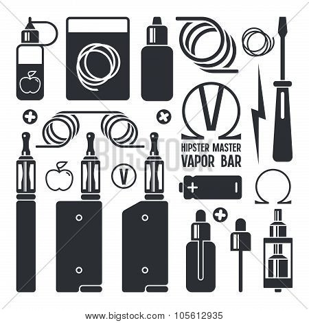 Vape Shop And E-cigarette Icons