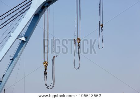 crane boom with steel hook