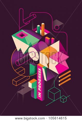 Isometric abstraction with typography. Vector illustration.