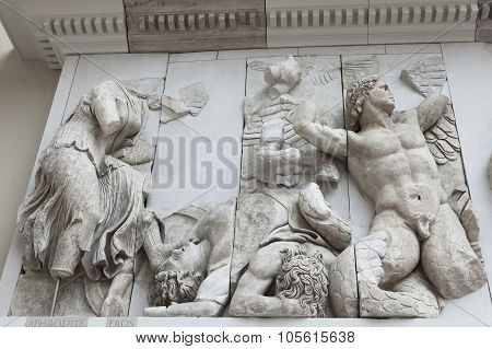 Detail Of The Frieze Of The Pergamon Altar In The Pergamon Museum, Berlin