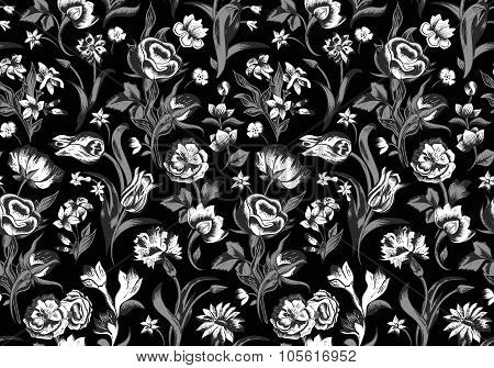Elegant dark vector seamless vintage floral pattern.