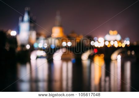 Abstract boke, blurred background of Prague, Czech Republic