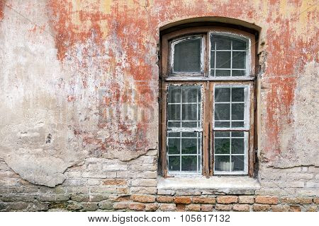 Weathered Window And Old Shabby Building Wall