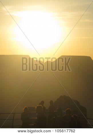 Tourists watching sundown