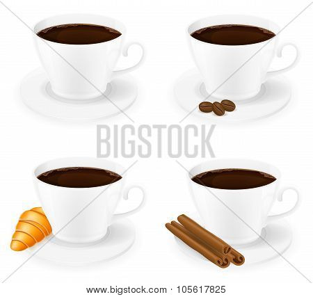 Cup Of Coffee With Cinnamon Sticks Grain And Beans Side View Vector Illustration
