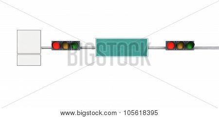 Traffic Light, Red Lights On A City Street With Traffic Signs And Pointers