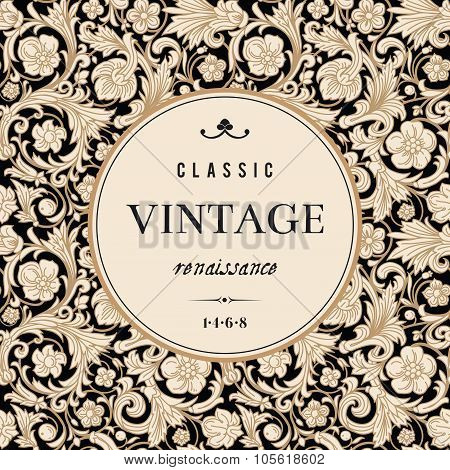 Vintage vector card in classical baroque style.