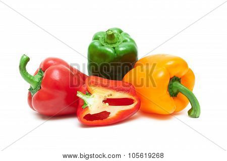 Sweet Bell Pepper Closeup On A White Background