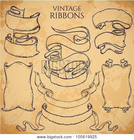 Vintage ribbons set. Vector illustration. Engraved decorative ornate frames. Victorian style. Place