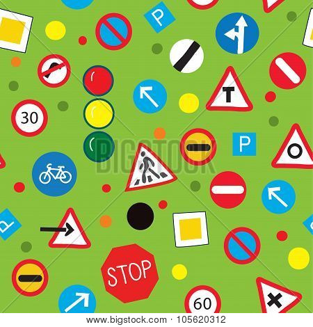 Seamless Pattern With Road Signs - Funny Design