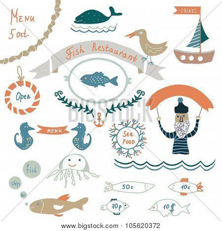 Fish Restaurant Invitation Or Menu Elements - Funny Design