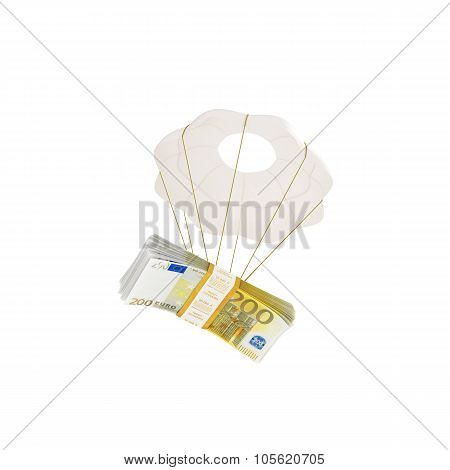 Money Flying On A Parachute Isolated On White