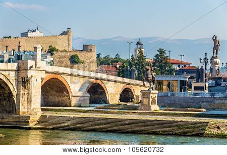 The Stone Bridge And Associated Monuments In Skopje - Macedonia