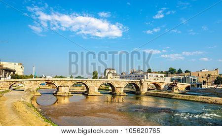 View Of The Stone Bridge In Skopje - Macedonia