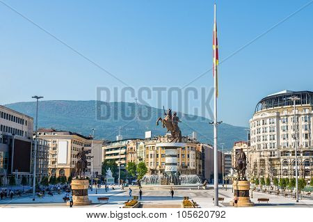 View Of Macedonia Square In Skopje