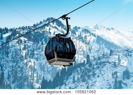 Ski lift, Gondola lift, cable car at Medeo to Shymbulak route near Almaty